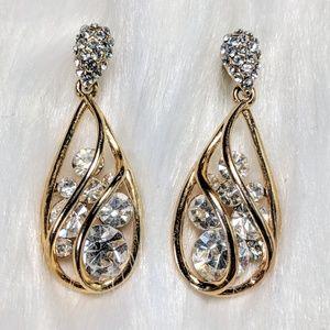 Vintage Jewelry - Pavé Sculpted Teardrop Earrings